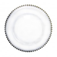 Тарелка подстановочная Ариэль стеклянная с серебрянными бусинками D=320 мм