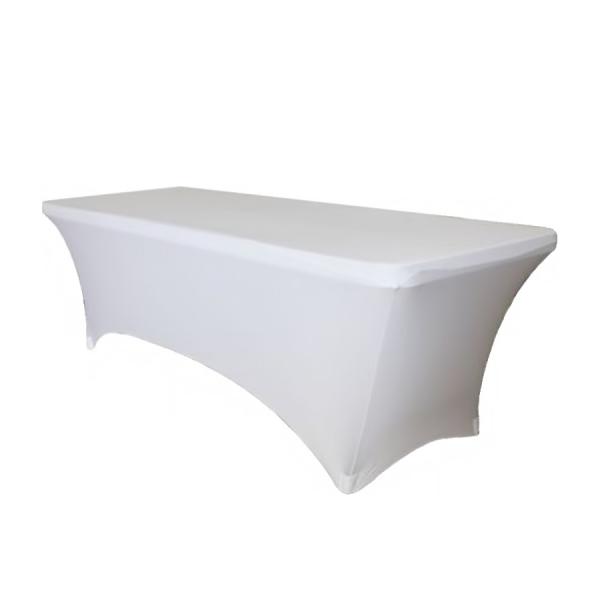 Чехол стрейч для прямоугольного стола белый обтягивающий