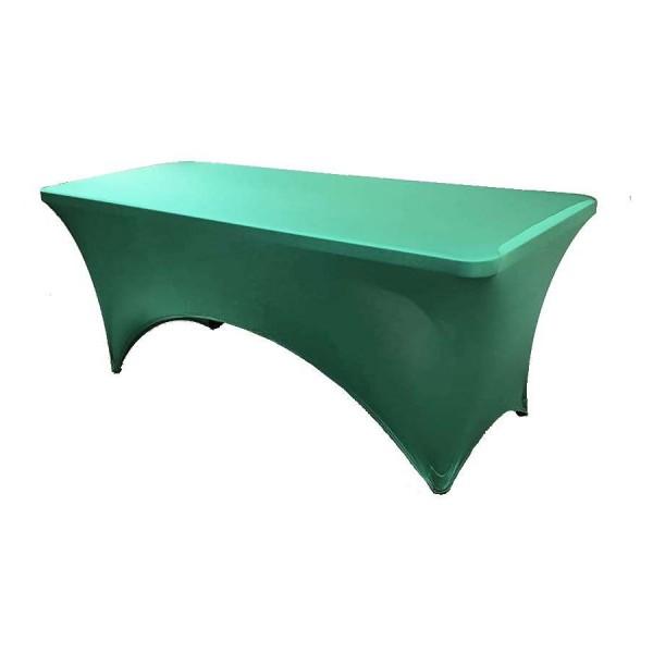 Чехол стрейч для прямоугольного стола зелёный обтягивающий