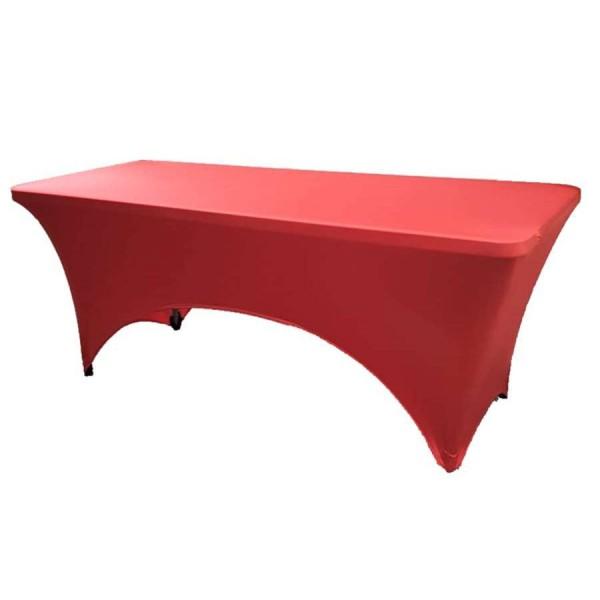 Чехол стрейч для прямоугольного стола красный обтягивающий