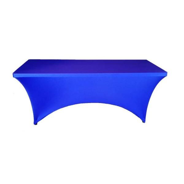 Чехол стрейч для прямоугольного стола синий обтягивающий