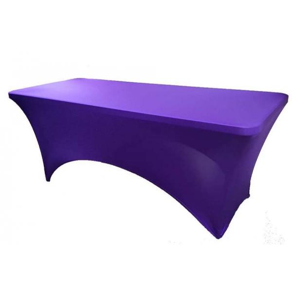 Чехол стрейч для прямоугольного стола фиолетовый обтягивающий