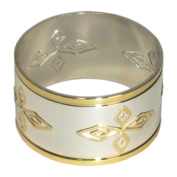 Кольцо для салфеток серебро с золотом