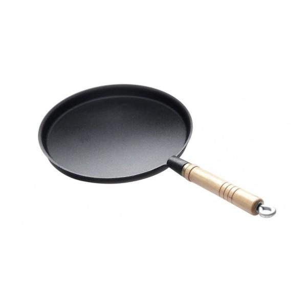 Сковорода для блинов чугунная с деревянной ручкой H=15 мм D=240 мм