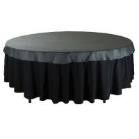 """Наперон для круглого стола 2,2 м чёрный """"Сатен"""" (Испания)"""