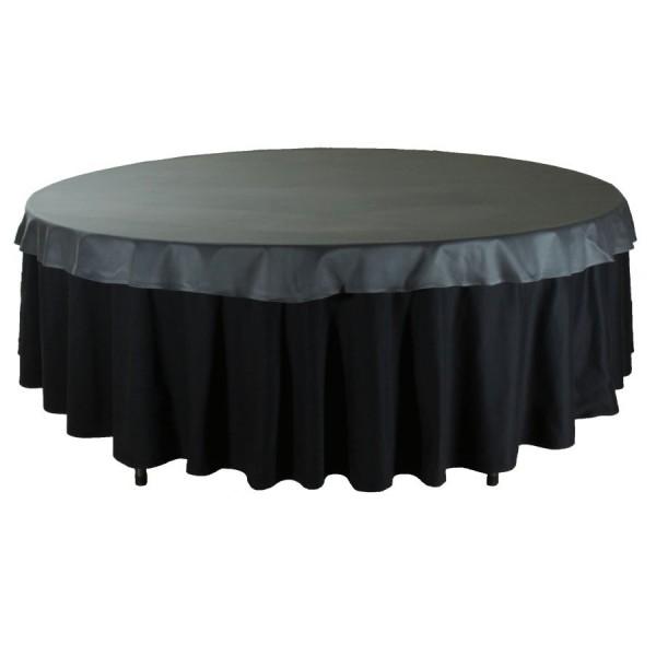 Наперон для круглого стола 2,2 м чёрный Сатен (Испания)