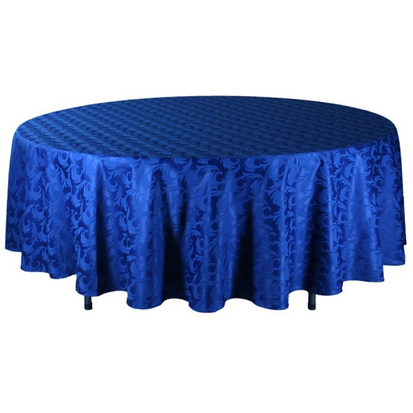 Скатерть круглая 3 м синяя Жаккард